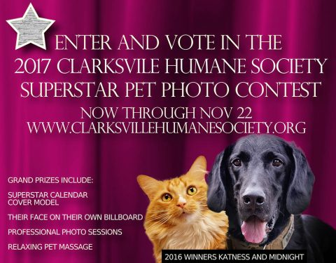 Humane Society of Clarksville Montgomery County 2017 Pet Superstar Photo Contest is going on now through November 22nd.