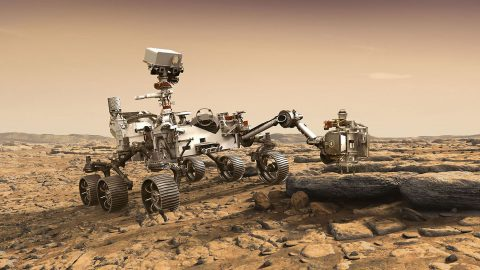 This artist's rendition depicts NASA's Mars 2020 rover studying a Mars rock outrcrop. The mission will not only seek out and study an area likely to have been habitable in the distant past, but it will take the next, bold step in robotic exploration of the Red Planet by seeking signs of past microbial life itself. (NASA/JPL-Caltech)