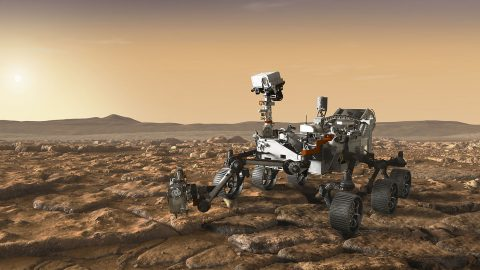 This artist's concept depicts NASA's Mars 2020 rover exploring Mars. The mission will not only seek out and study an area likely to have been habitable in the distant past, but it will take the next, bold step in robotic exploration of the Red Planet by seeking signs of past microbial life itself. (NASA/JPL-Caltech)