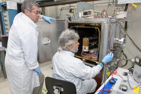 EcAMSAT, undergoes thermal vacuum power management testing at NASA Ames. The test simulates the thermal vacuum and power environment of space and is an element of the spacecraft's flight validation testing program. (NASA)