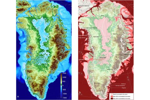 Left: Greenland topography color coded color-coded from 4,900 feet (1,500 meters) below sea level (dark blue) to 4,900 feet above (brown). Right: Regions below sea level connected to the ocean; darker colors are deeper. The thin white line shows the current extent of the ice sheet. (UCI)