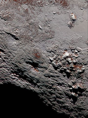 Composite image of Wright Mons, one of two potential cryovolcanoes spotted on the surface of Pluto by the New Horizons spacecraft in July 2015. (NASA/JHUAPL/SwRI)