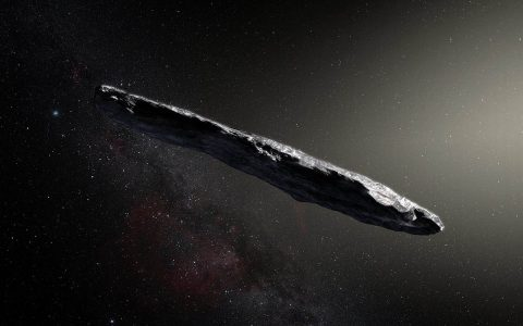 Artist's concept of interstellar asteroid 1I/2017 U1 ('Oumuamua) as it passed through the solar system after its discovery in October 2017. The aspect ratio of up to 10:1 is unlike that of any object seen in our own solar system. (European Southern Observatory / M. Kornmesser)