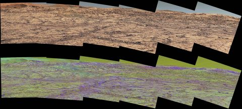 This pair of images from the Mast Camera (Mastcam) on NASA's Curiosity rover illustrates how special filters are used to scout terrain ahead for variations in the local bedrock. (NASA)