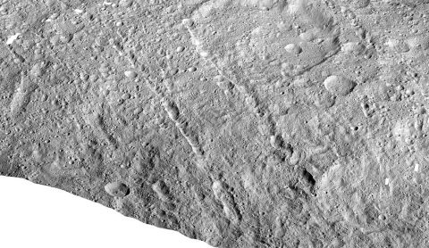 This image made with data from NASA's Dawn spacecraft shows pit chains on dwarf planet Ceres called Samhain Catenae. (NASA/JPL-Caltech/UCLA/MPS/DLR/IDA)