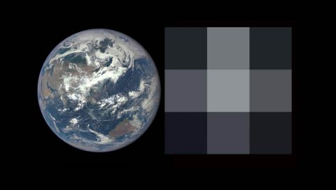 Left, an image of Earth from the DSCOVR-EPIC camera. Right, the same image degraded to a resolution of 3 x 3 pixels, similar to what researchers will see in future exoplanet observations. (NOAA/NASA, Stephen Kane)
