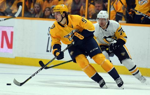 Nashville Predators left wing Filip Forsberg (9) skates with the puck during the second period against the Pittsburgh Penguins at Bridgestone Arena. (Christopher Hanewinckel-USA TODAY Sports)