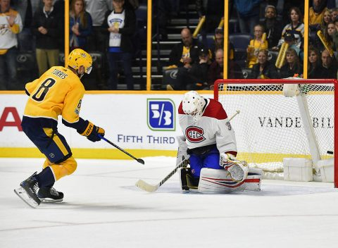 Nashville Predators center Kyle Turris (8) scores past Montreal Canadiens goalie Antti Niemi (37) for the only goal during the shootout at Bridgestone Arena. (Steve Roberts-USA TODAY Sports)
