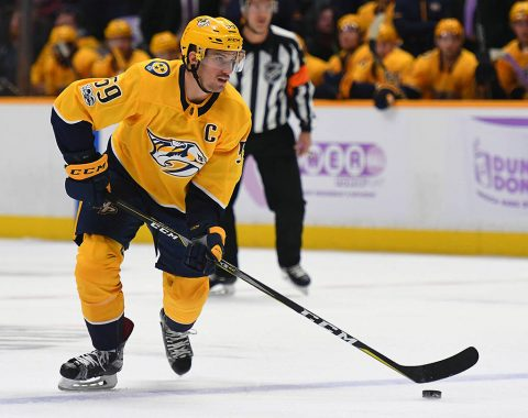 Nashville Predators defenseman Roman Josi (59) looks to pass the puck during the first period against the Colorado Avalanche at Bridgestone Arena. (Christopher Hanewinckel-USA TODAY Sports)