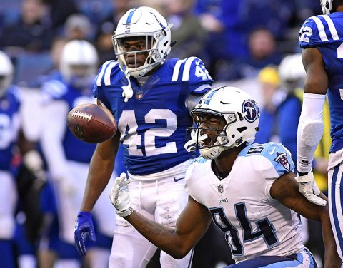 Tennessee Titans receiver Corey Davis (84) reacts catching a pass in the third quarterafter at Lucas Oil Stadium. (Thomas J. Russo-USA TODAY Sports)