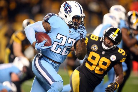 Tennessee Titans running back Derrick Henry (22) rushes the ball past Pittsburgh Steelers inside linebacker Vince Williams (98) during the second quarter at Heinz Field. Pittsburgh won 40-17. (Charles LeClaire-USA TODAY Sports)