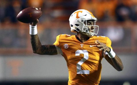 Tennessee Football freshman quarterback Jarrett Guarantano threw for 239 yards and a touchdown against LSU Saturday. (Tennessee Athletics)