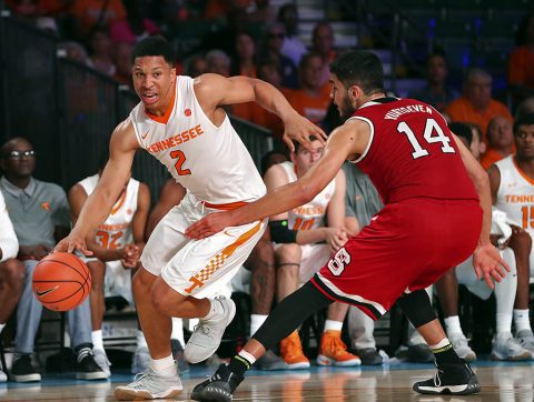 Tennessee Volunteers forward Grant Williams (2) drives to the basket as North Carolina State Wolfpack center Omer Yurtseven (14) defends during the second half in the 2017 Battle 4 Atlantis in Imperial Arena at the Atlantis Resort. (Kevin Jairaj-USA TODAY Sports)