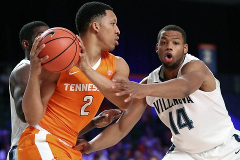 Tennessee Volunteers forward Grant Williams (2) looks to drive as Villanova Wildcats forward Omari Spellman (14) defends during the first half in the 2017 Battle 4 Atlantis in Imperial Arena at the Atlantis Resort. (Kevin Jairaj-USA TODAY Sports)