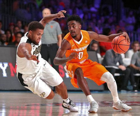 Tennessee Volunteers guard Jordan Bone (0) dribbles as Purdue Boilermakers guard P.J. Thompson (11) falls during the first half in the 2017 Battle 4 Atlantis in Imperial Arena at the Atlantis Resort. (Kevin Jairaj-USA TODAY Sports)