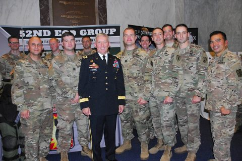 Brig. Gen. James Bonner, commander, 20th CBRNE Command, meets with Soldiers at the EOD Day on the Hill event at the Rayburn House Office Building foyer on November 7th. (U.S. Army photo by Maj. Troy Frey)