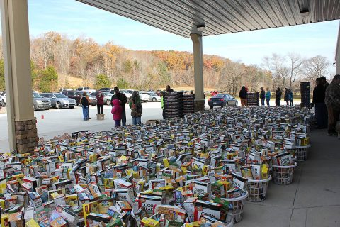 1200 baskets to be handed out at Yellow Creek Baptist Church during their Free Food Giveaway, Saturday.