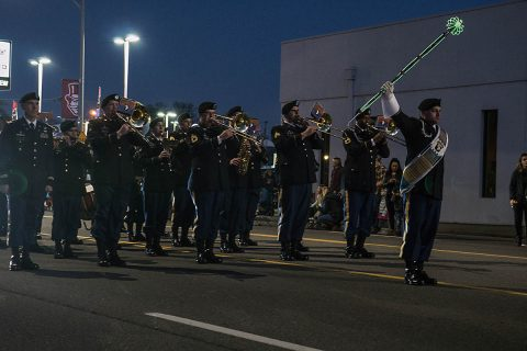"""The 101st Airborne Division (Air Assault) Band marched in this years Clarksville Christmas parade, around Clarksville on Dec. 2. There were more than 130 businesses, schools and organizations took part in the floats in this years parade each decorated with a different theme all around the theme, """"Christmas around the world"""" (Spc. Patrick Kirby)"""
