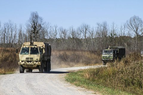Soldiers from 101st Special Troops Battalion, 101st Airborne Division (Air Assault) Sustainment Brigade, 101st Abn. Div., returning from executing a convoy escort team live fire exercise on Fort Campbell, Kentucky, Oct. 26, 2017. The training focused on the use of light to heavy machine guns while maintaining the integrity of a convoy, and communication with in the unit. (Pfc. Alexes Anderson/101st Airborne Division Sustainment Brigade)
