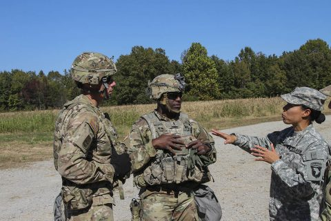 (L to R) Capt. Joshua Joseph, company commander of Headquarters and Headquarters Company, Lt. Walter Dezir, executive officer of HHC, and Lt. Col. Wally Vives-Ocasio, battalion commander of 101st Special Troops Battalion, 101st Airborne Division (Air Assault) Sustainment Brigade, 101st Abn. Div., conduct an after action review of the convoy escort team live fire exercise on Fort Campbell, Kentucky, Oct. 26, 2017. (Pfc. Alexes Anderson/101st Airborne Division Sustainment Brigade)