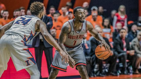 Austin Peay Men's Basketball loses hard fought game to Illinois Wednesday night. (Trevor Diedrich, University of Illinois)