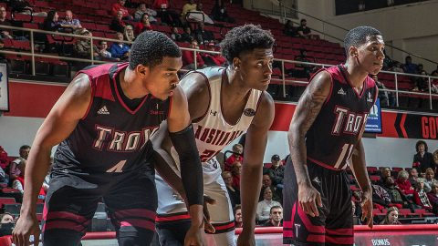 Austin Peay Men's Basketball mounts second half comeback to take down Troy at the Dunn Center 75-73. (APSU Sports Information)