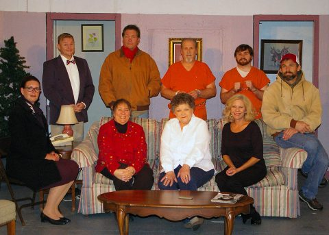 "The cast of ""All is Merry and Bright"" pictured (Standing L to R) Alex Syler, Bill Colclough, Jeff Wellington and Alex Maynard. (Seated L to R) Amy Snider, Jan Dial, Linda Ellis Cunningham, Kathy Watts and Scott Swan."