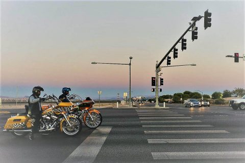Bikers at a Traffic Light.