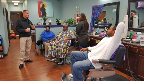 "Clarksville Police Chief Al Ansley at Mona Lisa's Barbershop for a Chat and a ""Cut""."