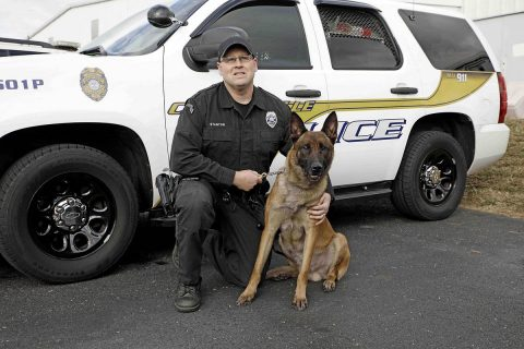 Clarksville Police Officer Casey Stanton and K9 Vader