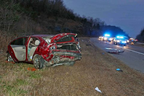 Clarksville Police responded to a car accident where a Kia Optima went off the road on 101st Parkway, flipped several times and the driver was ejected. The driver died later from his injuries. (Officer Szczerbiak, CPD)
