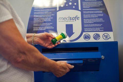 MedSafe receptacle located at Comprehensive Wellness Pharmacy on Dunlop Lane.