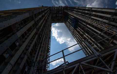 The 215-foot-tall structural test stand for NASA's Space Launch System is seen Sunday, Sept. 24, 2017, at NASA's Marshall Space Flight Center in Huntsville, Alabama. (NASA/Bill Ingalls)