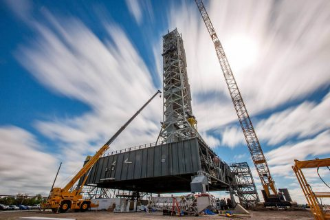 A long-exposure view of the mobile launcher at NASA's Kennedy Space Center in Florida. (NASA/Cory Huston)