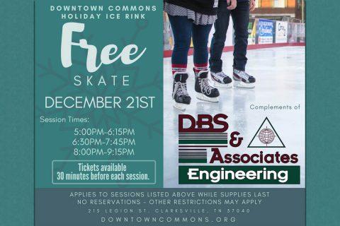 Free Skate Sponsored by DBS & Associates Engineering on December 21st.