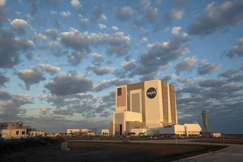 An early morning view of the iconic Vehicle Assembly Building (VAB) at NASA's Kennedy Space Center in Florida. (NASA/Bill White)