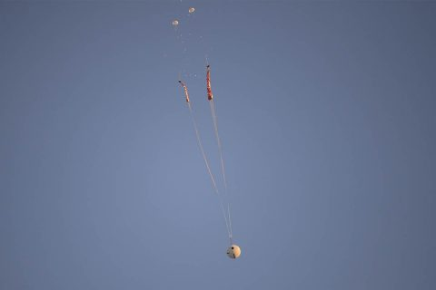Two pilot parachutes pull out two main parachutes of the Orion spacecraft during a test Dec. 15, 2017. (U.S. Army)