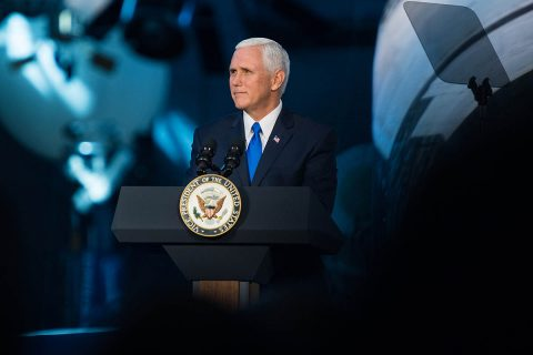 Vice President Mike Pence delivers opening remarks during the National Space Council's first meeting, Thursday, Oct. 5, 2017 at the Smithsonian National Air and Space Museum's Steven F. Udvar-Hazy Center in Chantilly, VA. (NASA/Joel Kowsky)