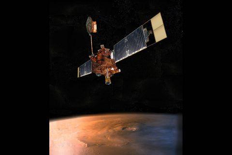Artist's impression of Mars Global Surveyor in orbit over Mars. (NASA/JPL-Caltech)