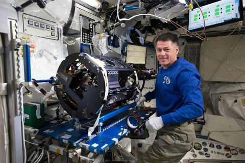 The Multi-user Droplet Combustion Apparatus accommodated droplet-combustion investigations that studied efficient fuel efficiency and engine production in space and on Earth. NASA astronaut Shane Kimbrough reconfigures the MDCA for the Cool Flames Investigation during Expedition 50. (NASA)