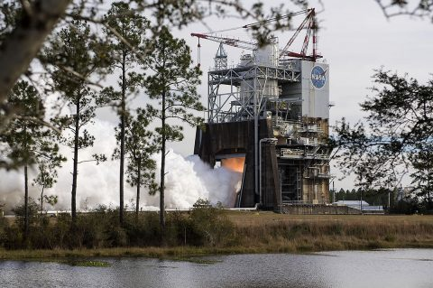 The successful hot-fire test of an RS-25 development engine at NASA's Stennis Space Center on Dec. 13 included NASA's largest 3-D printed rocket engine component to date, the pogo accumulator assembly. The test was the first of 50 for NASA's restart of RS-25 engine production. (NASA/Stennis)