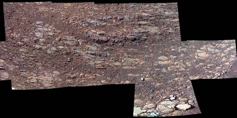 "This enhanced-color view of ground sloping downward to the right in ""Perseverance Valley"" shows textures that may be due to abrasion by wind-driven sand. The Pancam on NASA's Mars rover Opportunity's imaged this scene in October 2017. (NASA/JPL-Caltech/Cornell Univ./Arizona State Univ.)"