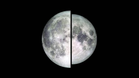 An image of the moon taken by NASA's Lunar Reconnaissance Orbiter is shown in two halves to illustrate the difference in the apparent size and brightness of the moon during a supermoon. The left half shows the apparent size of a supermoon (full moon at perigee), while the right half shows the apparent size and brightness of a micromoon (full moon at apogee). (NASA/Goddard/Lunar Reconnaissance Orbiter)