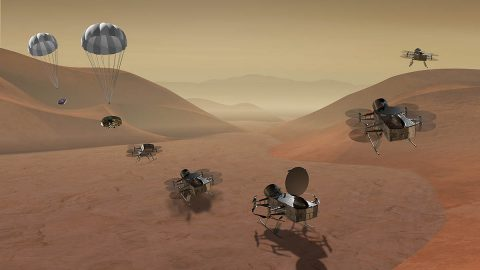 Dragonfly is a dual-quadcopter lander that would take advantage of the environment on Titan to fly to multiple locations, some hundreds of miles apart, to sample materials and determine surface composition to investigate Titan's organic chemistry and habitability, monitor atmospheric and surface conditions, image landforms to investigate geological processes, and perform seismic studies. (NASA)