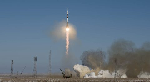 Expedition 54 crew members Scott Tingle of NASA, Anton Shkaplerov of the Russian space agency Roscosmos, and Norishige Kanai of the Japan Aerospace Exploration Agency launched to the International Space Station at 1:21am CST December 17th, 2017 (1:21pm Baikonur time), from the Baikonur Cosmodrome in Kazakhstan. (NASA/Joel Kowsky)