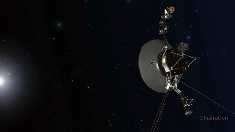 The Voyager team is able to use a set of four backup thrusters, dormant since 1980. They are located on the back side of the spacecraft in this orientation. (NASA/JPL-Caltech)