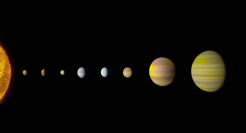 With the discovery of an eighth planet, the Kepler-90 system is the first to tie with our solar system in number of planets. Artist's concept. (NASA/Ames Research Center/Wendy Stenzel)