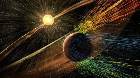 This illustration depicts charged particles from a solar storm stripping away charged particles of Mars' atmosphere, one of the processes of Martian atmosphere loss studied by NASA's MAVEN mission, beginning in 2014. Unlike Earth, Mars lacks a global magnetic field that could deflect charged particles emanating from the Sun. (NASA/GSFC)
