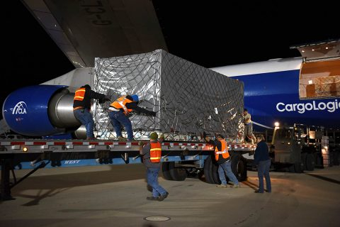 A crate containing one of the twin Gravity Recovery and Climate Experiment Follow-On (GRACE-FO) satellites is offloaded from an air freighter at California's Vandenberg Air Force Base December 12th following a transcontinental flight from Germany. GRACE-FO is scheduled for launch next spring. (USAF)