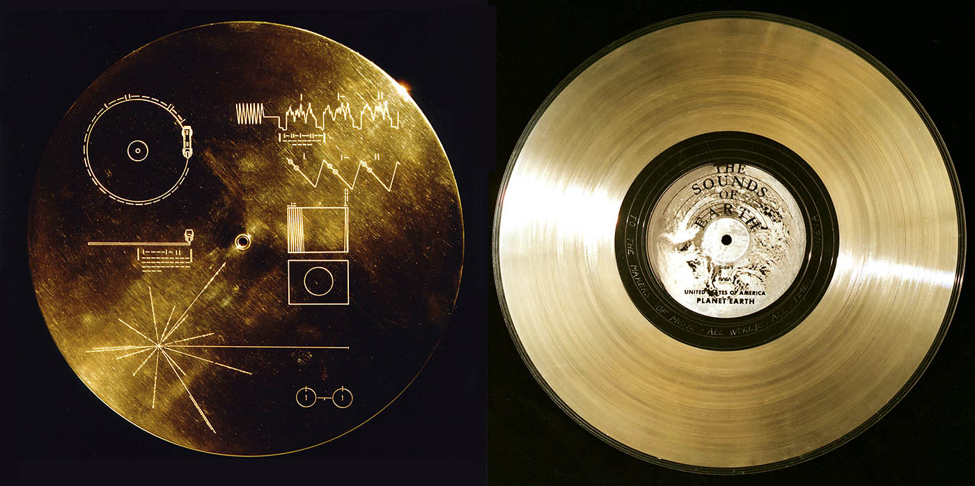 Each Voyager spacecraft carries a copy of the Golden Record, which has been featured in several works of science fiction. The record's protective cover, with instructions for playing its contents, is shown at left. (NASA/JPL-Caltech)
